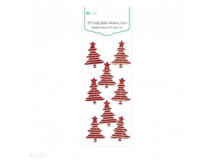 Samolepky vánoční 3D - TREES, 8 Ks RED