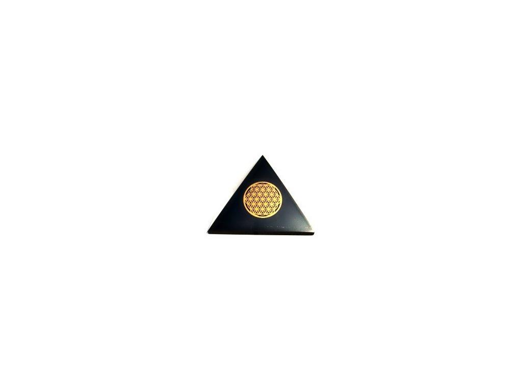 Šungit pyramida Květ života