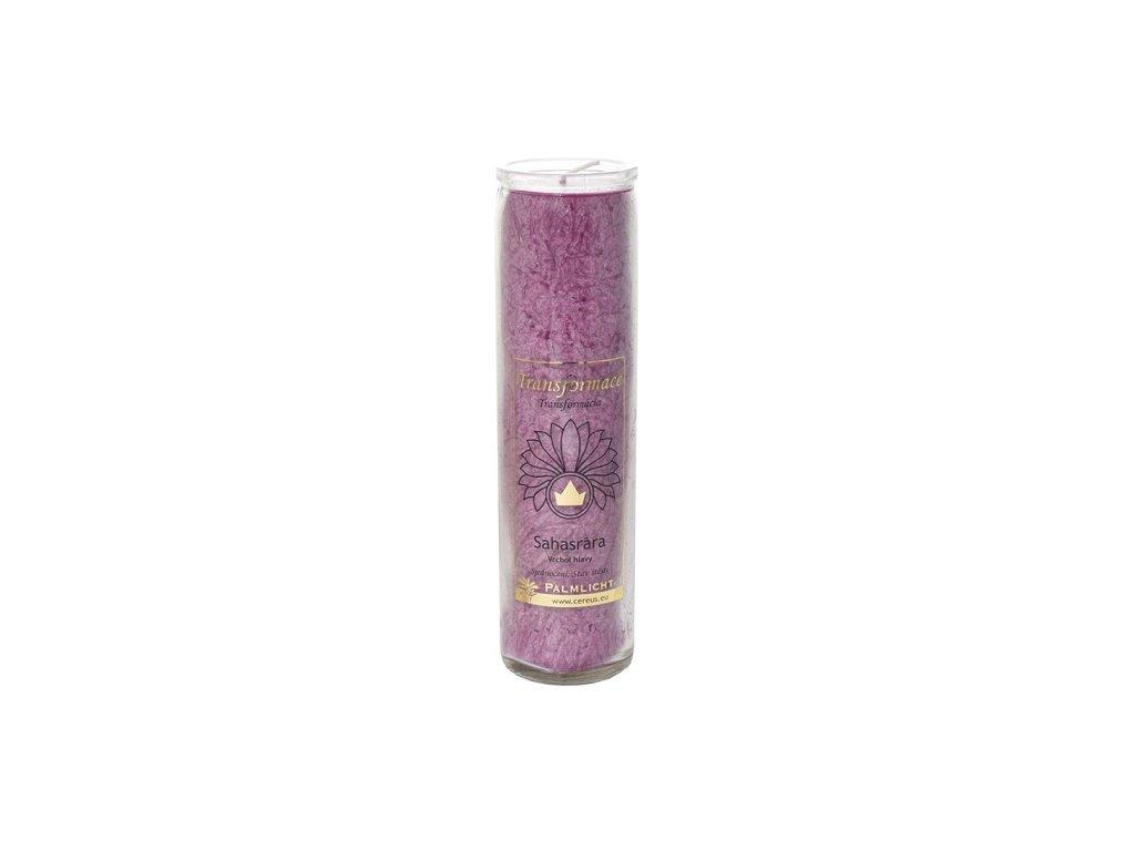 Svíčka ve skle - čakrová fialová