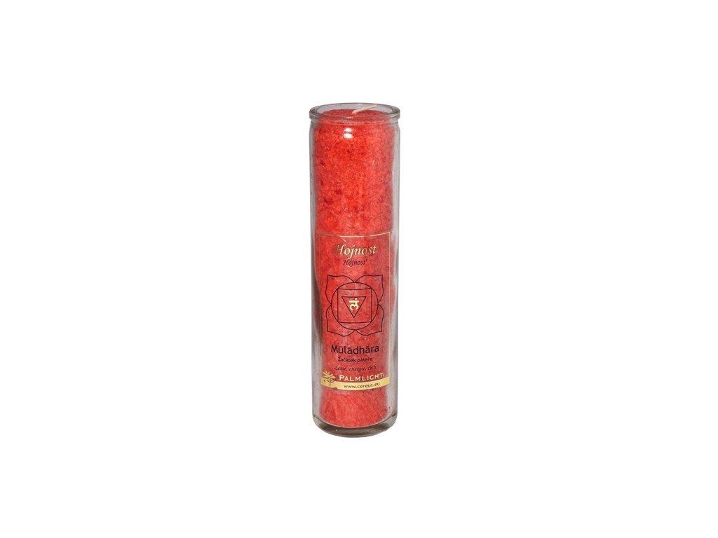 Svíčka ve skle - čakrová červená