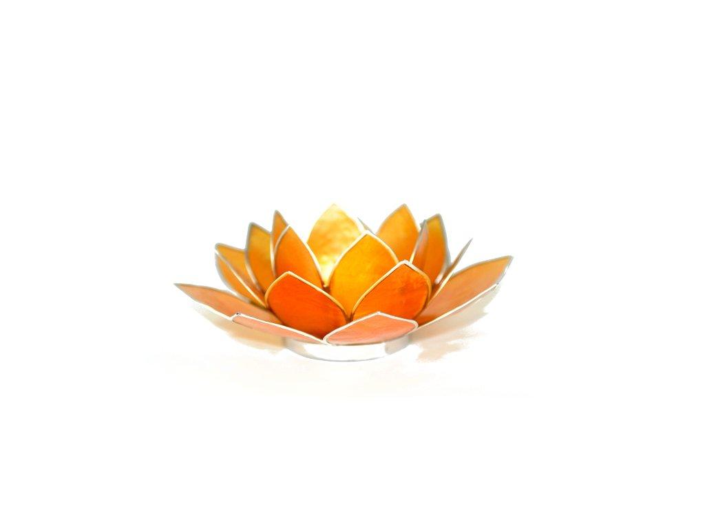 Svícen lotos oranžový