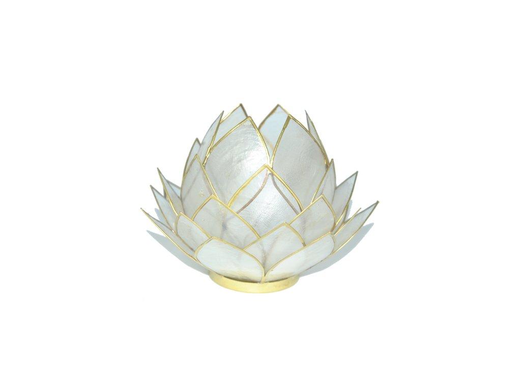 Svícen lotos velký bílá perleť