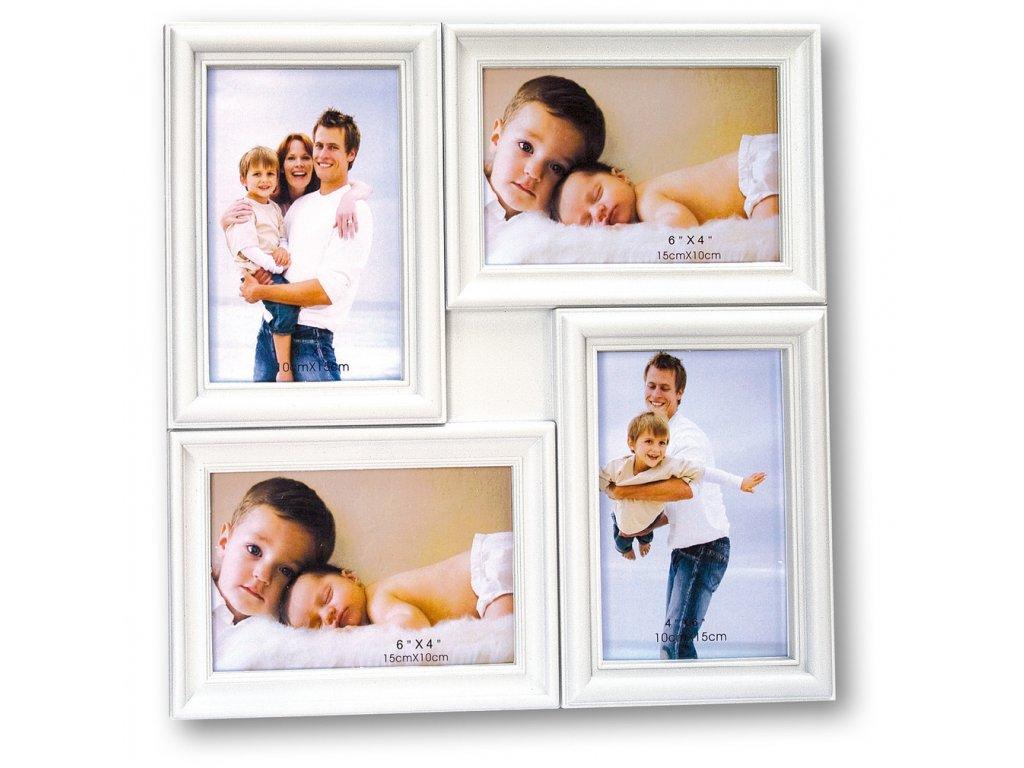 FOTORÁMEČEK DŘEVĚNÝ GALERIE 4 X 10X15CM - MALAGA bílý