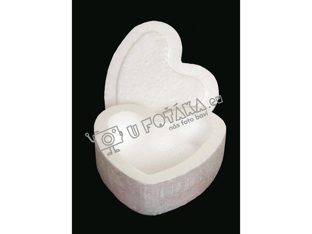 Valentýnská dekorace - krabička srdce 150x150mm POLYSTYREN