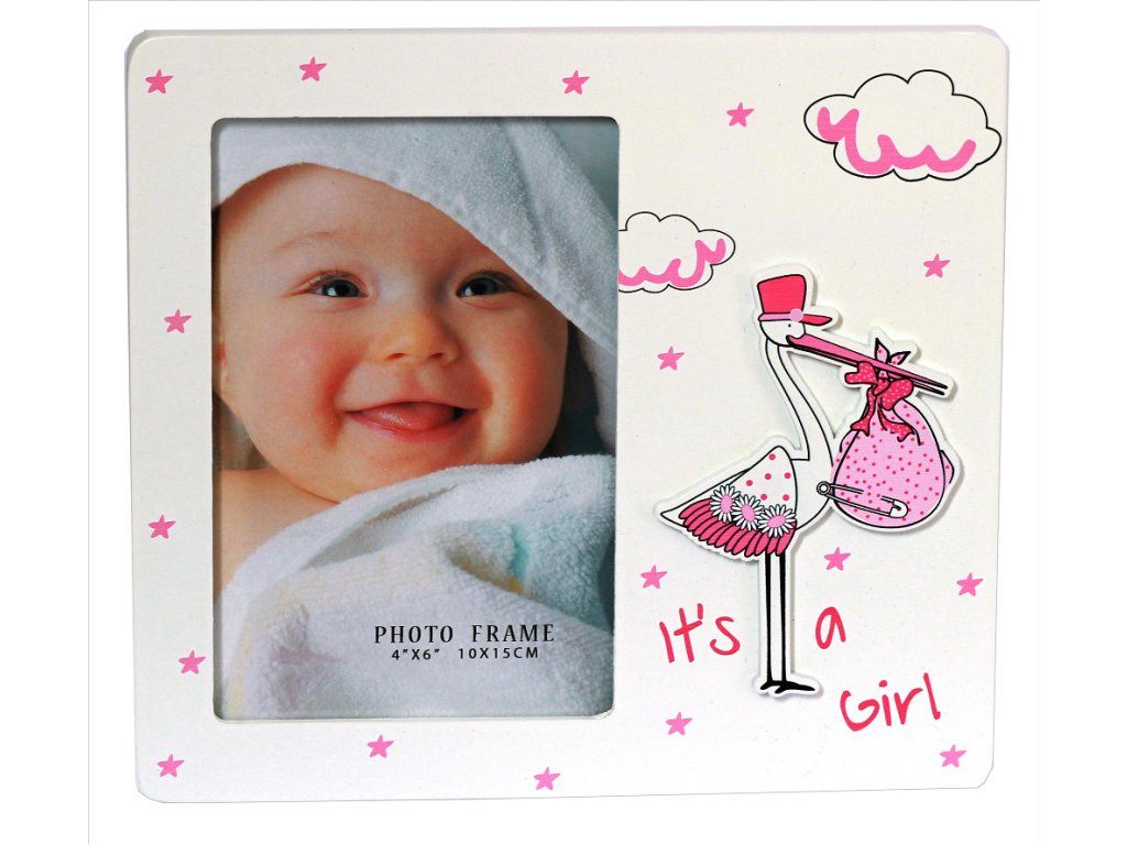 Fotorámeček dětský 10x15cm - čáp růžový