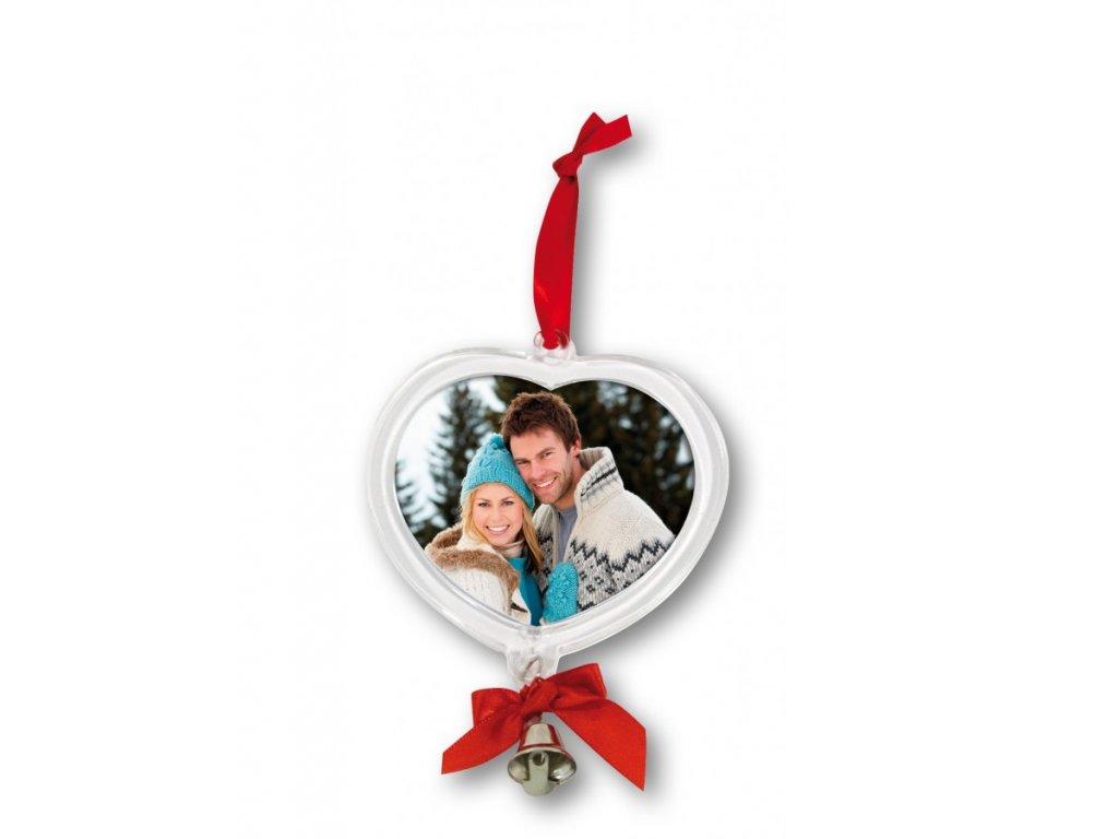 Weihnachtsbaumanhaenger herzfoermig mit Foto und Glocke