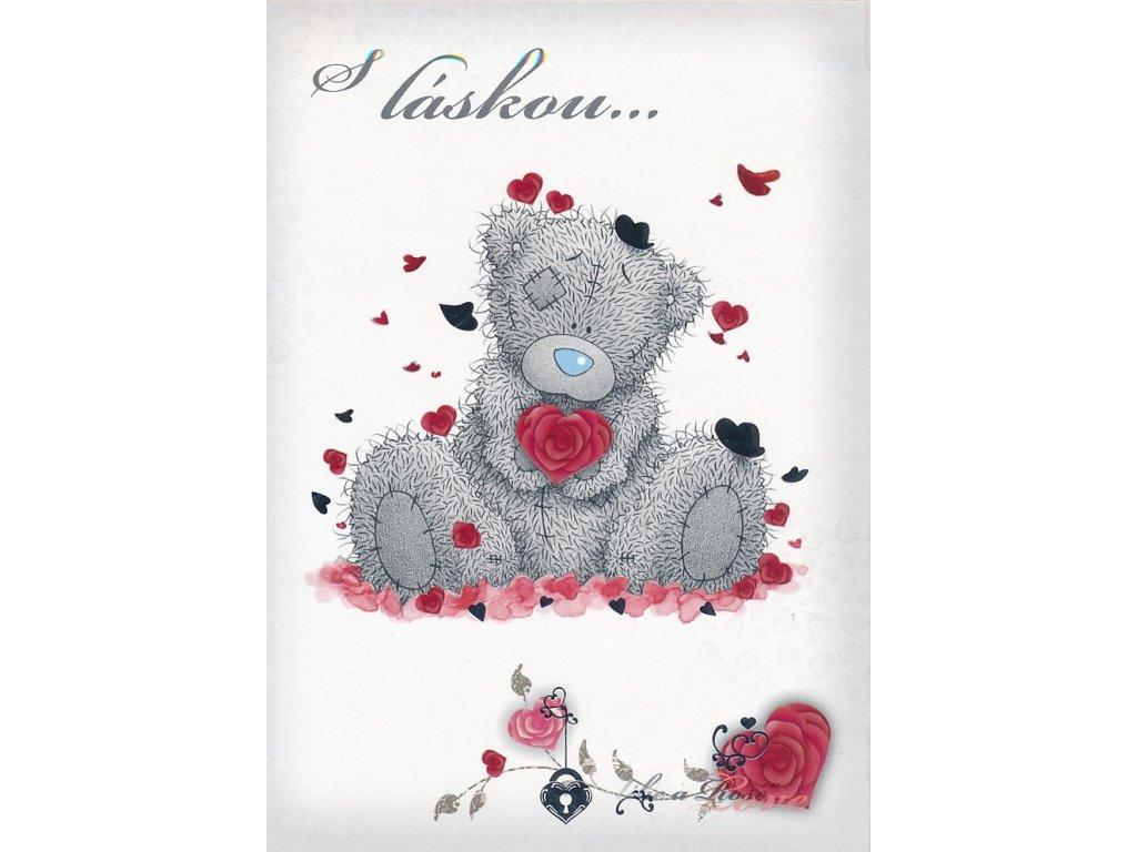 Blahopřání Valentýnské - S láskou černá srdíčka