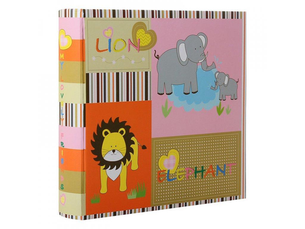 album photo naissance a pochettes lion elephant rose pour 200 photos 10x15 cm