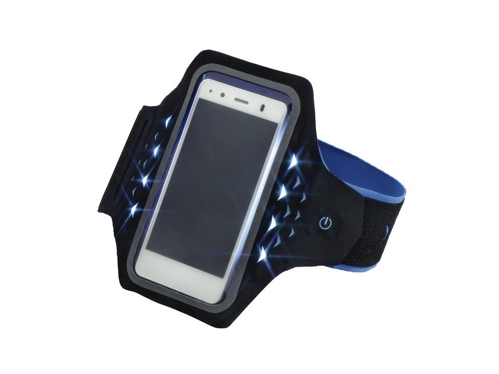 Sportovní pouzdro na rameno s LED velikost L černomodré