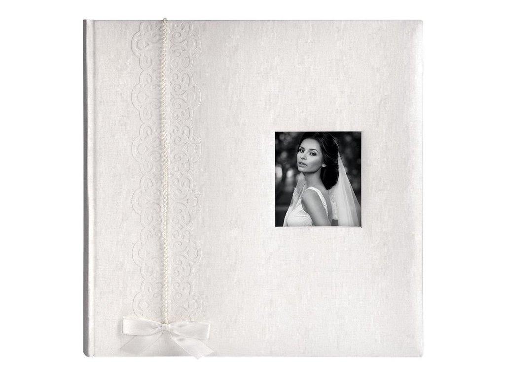 Svatební fotoalbum na růžky 100 stran - LUNA bílá s okénkem