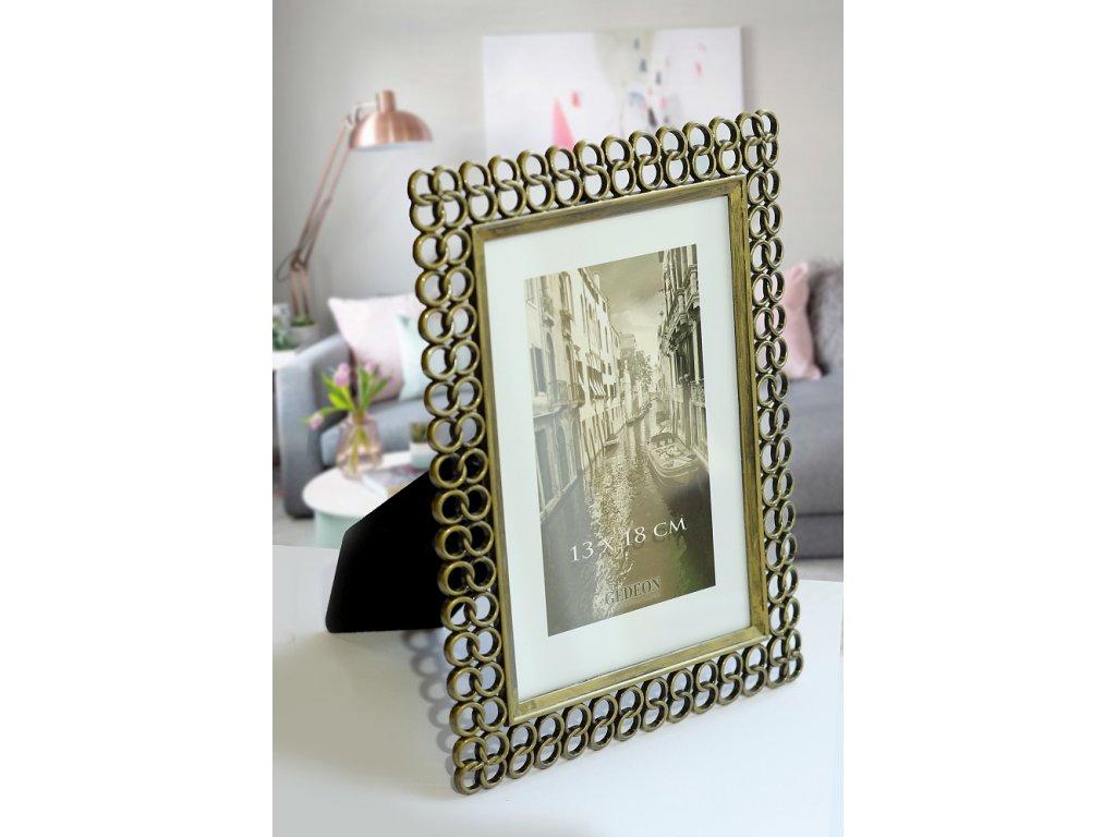 Fotorámeček kovový 13x18 cm 1457 zlatý