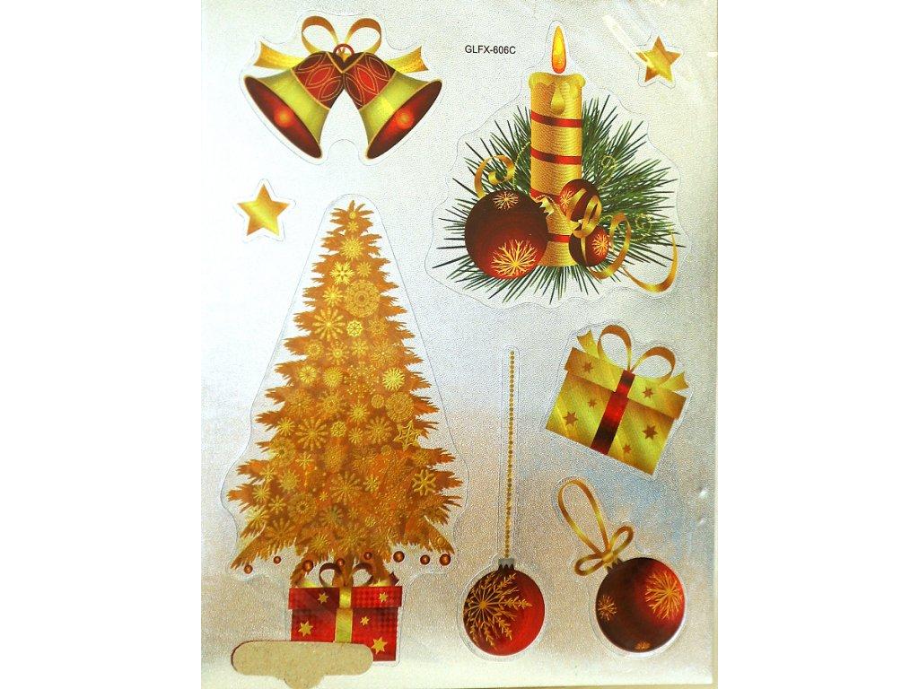 Nálepky do fotoalba vánoční - stromeček zlatý