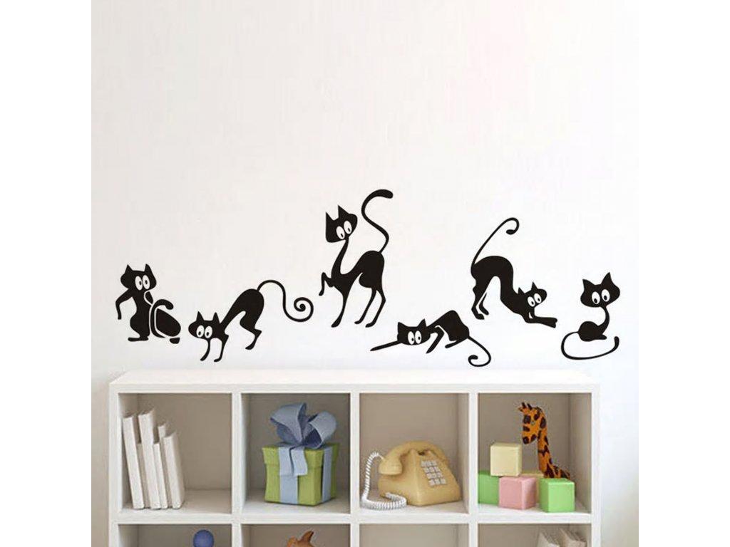 Samolepky na zeď Kočky zvědavé 70x25cm