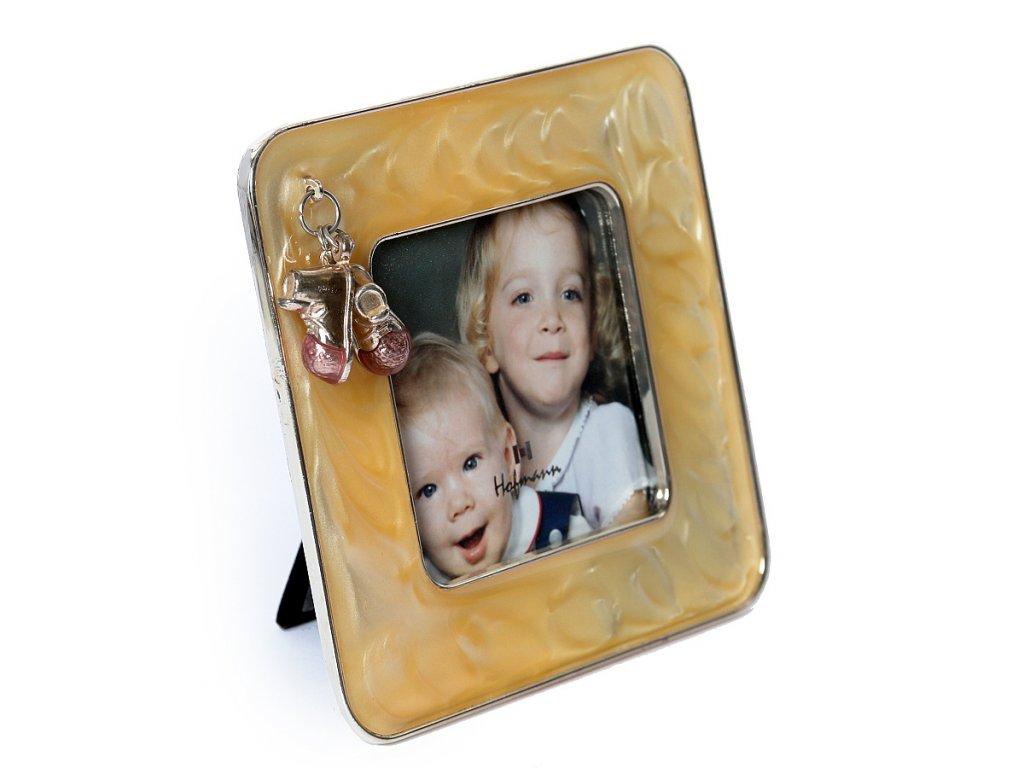 Fotorámeček dětský kovový - 7x7 LASTUROVÝ BOTIČKY růžové