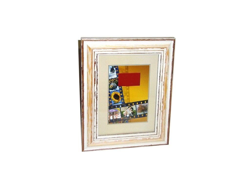 Fotorámeček 10x15 dřevěný  CODEX 82B - bílý s patinou