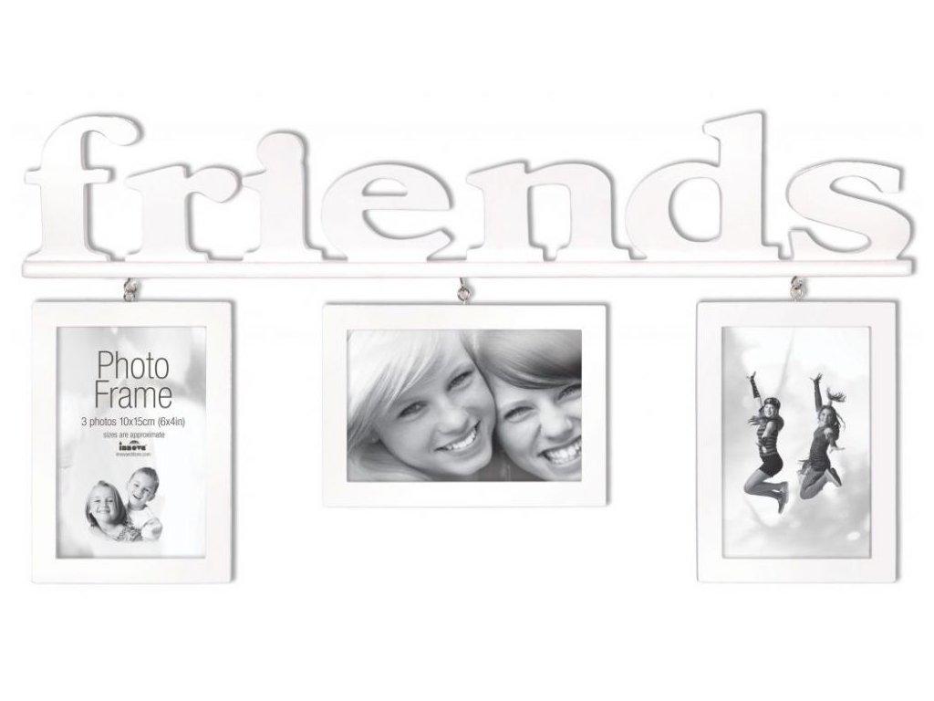 FOTORÁMEČEK PLASTOVÝ (GALERIE 3 fotografie 10X15CM) - barva bílá Friends