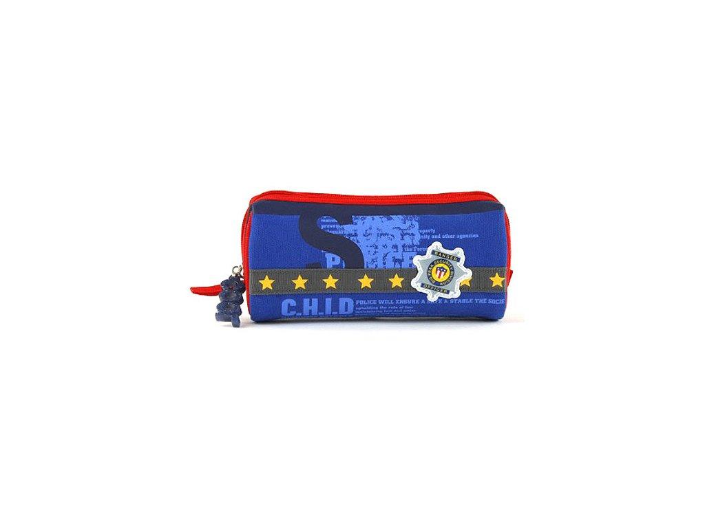Školní penál oválný  Šerif  - barva modro-červená