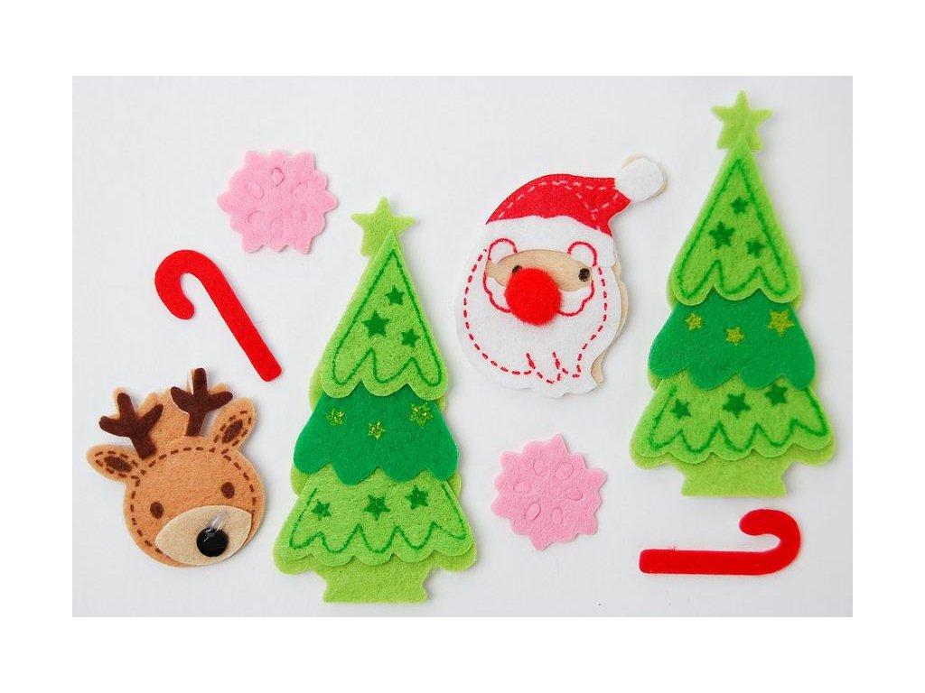 Vánoční dekorace - AMOLEPKY Z PLSTI VÁNOCE