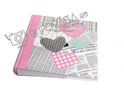 Fotoalbum na růžky 30x30cm 100 stran - KPH Happy news růžové srdce