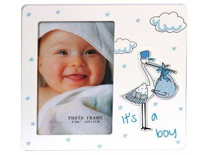 Fotorámeček dětský 10x15cm - čáp modrý