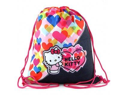 Sportovní vak Hello Kitty, barevná srdce