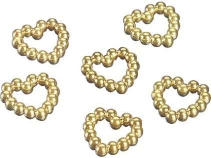 Plasová srdíčka z perliček - zlatá