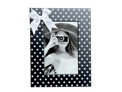 Fotorámeček kovový - 10x15 mašlička bílá