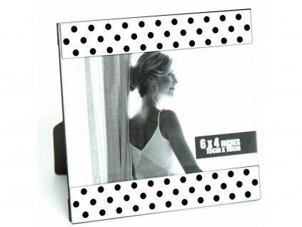 Fotorámeček kovový - 10x15 bílý černý puntík