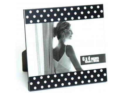 Fotorámeček kovový - 10x15 černý bílý puntík