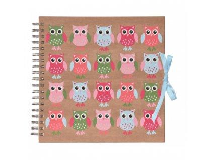 scrapbook fotoalbum na spirale pro tvorivou upravu owls
