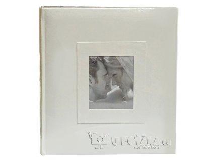 Svatební fotoalbum na růžky 60 stran - stříbrná lastura okénko
