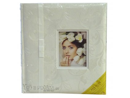 Svatební fotoalbum na růžky 60 stran - Botia bílá s okénkem