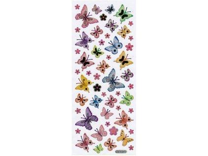 Nálepky do fotoalba Motýlci a květiny
