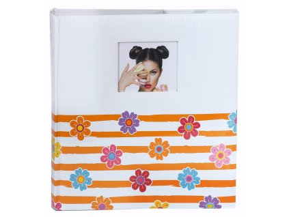 Fotoalbum na růžky 30x30cm 100 stran - KPH veselé květy oranžové