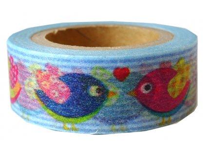 Lepící páska dekorační PTÁČCI