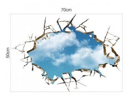 Samolepka na zeď 3D Díra 50x70 cm