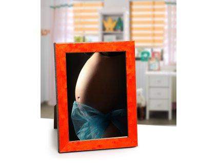 Fotorámeček dřevěný intarzový 13x18 oranžový