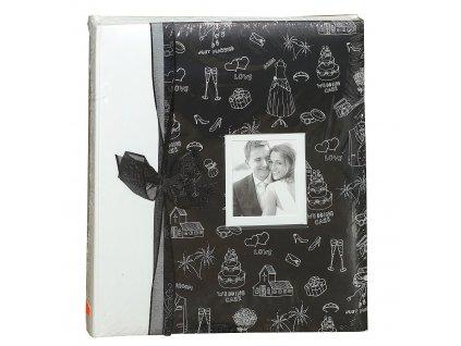 Fotoalbum na růžky 60 stran - Svatba černé černá stuha
