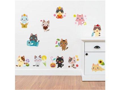 Samolepky na zeď Kočky barevné 60x33cm