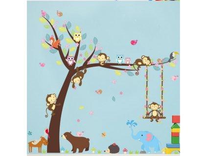 Samolepky na zeď Strom se zvířátky - opičky 104x116cm