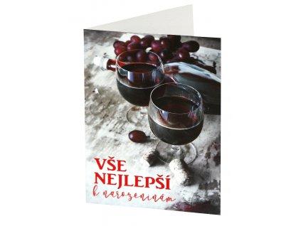 Přání VŠE NEJLEPŠÍ k narozeninám - červené víno