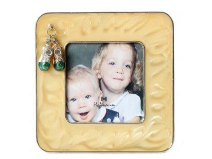 Fotorámeček dětský kovový - 7x7 LASTUROVÝ BOTIČKY zelené