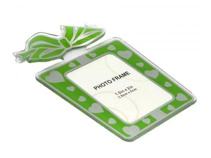 Fotorámeček 4,8x5 cm akrylový - dárek zelený