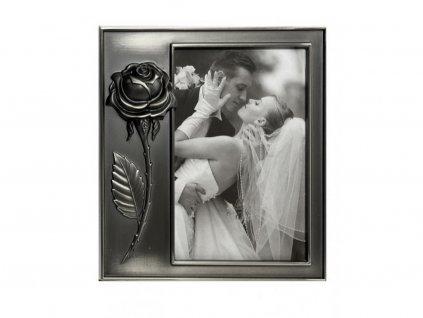 Fotorámeček kovový - RŮŽE stříbrná