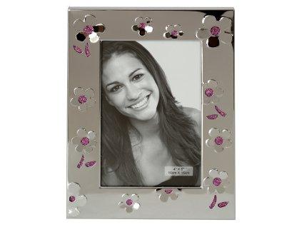 Fotorámeček kovový - 10x15 stříbrný, květy růžové