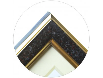 Fotorámeček dřevěný 9x13 černý dvě zlaté linky