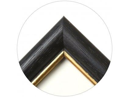 Fotorámeček dřevěný 9x13 černý zlatá linka