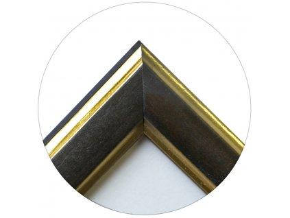 Fotorámeček dřevěný 9x13 hnědý dvě zlaté linky