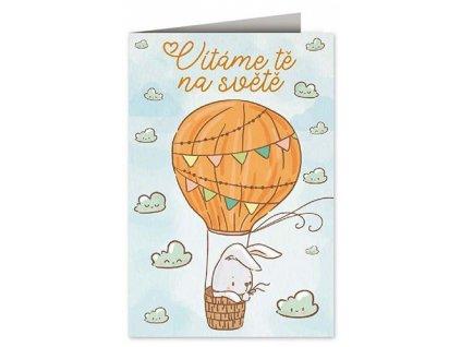 Přání k narození dítěte Zajíček v balónu A