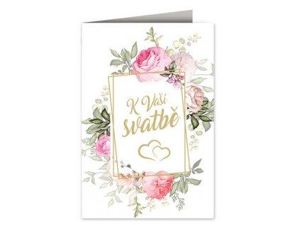 Svatební přání Rámeček s květinami A
